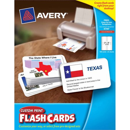 Custom print flash card for Avery flash cards template