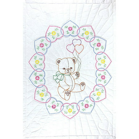 Jack Dempsey Bear With Balloons Stamped White Quilt Crib Top, 40