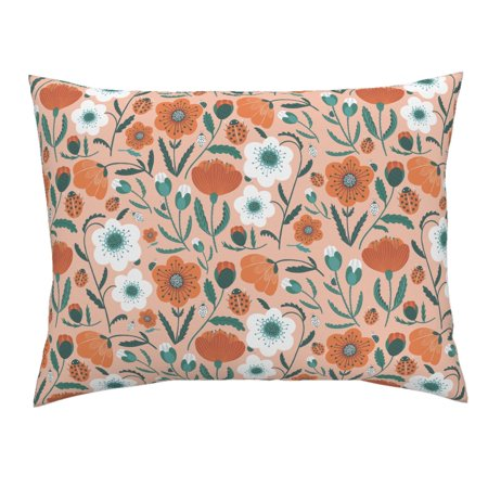 Poppy Flowers Blush Floral Ladybug Summer Retro Mod Pink Pillow Sham by Roostery