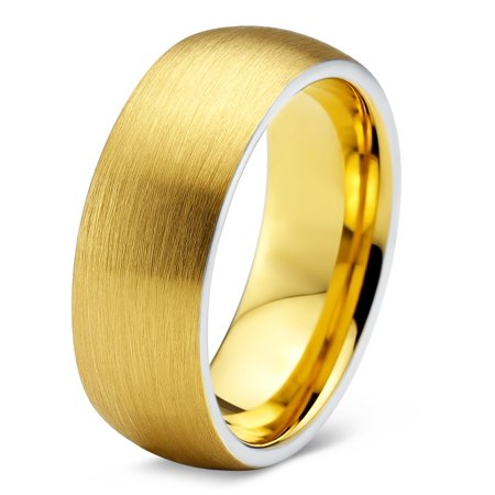 Tungsten Wedding Band Ring 8mm for Men Women Comfort Fit 18K Yellow Gold Plated Dome Round Brushed Polished Lifetime Guarantee ()