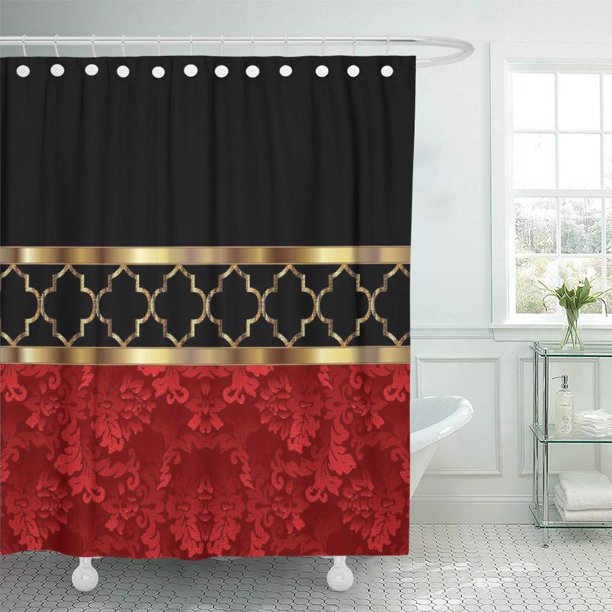 cynlon lattice elegant red black gold quatrefoil geometric moroccan contemporary bathroom decor bath shower curtain 60x72 inch