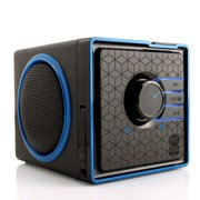 Portable Speaker by GOgroove - SonaVERSE BX Rechargeable Compact Speaker with 3-5 Hour Battery, AUX & USB Inputs, Playback Controls for Thumb Drive, Little Cube Design, LED Accents [REFURBISHED]