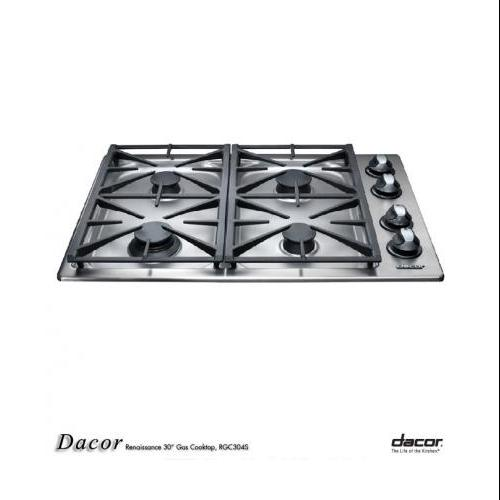 "Dacor  RGC304S/NG Renaissance Series 30"" Gas Cooktop in Natural Gas with 4 Sealed Burners  Automatic Reignition"