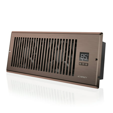 "AC Infinity AIRTAP T4, Quiet Register Booster Fan with Thermostat Control. Heating Cooling AC Vent. Fits 4"" x 12"" Register Holes."