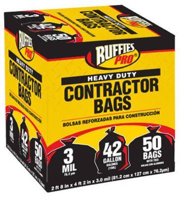 Berry Plastics 1190274 50-Pack 42-Gallon Black Contractor Bags