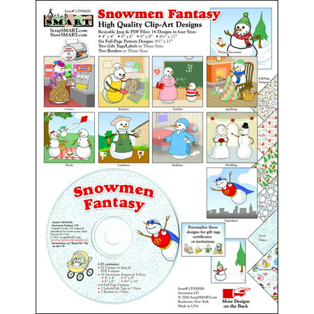 ScrapSMART Snowmen Fantasy Clip-Art CD-ROM, Colorful Illustrations for Scrapbook, Craft, Sewing
