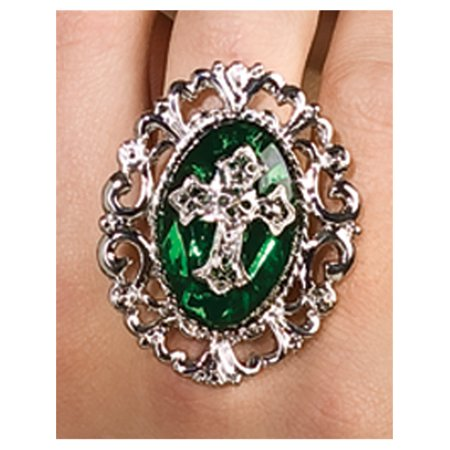 Elegant Metallic Silver and Green Emerald Gothic Cross Costume Accessory Ring (Emerald Costume)