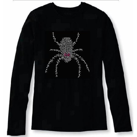 Halloween Girly Black Widow Spider Crystal Women's t Shirt ANI-066-lr - - Gingy Halloween