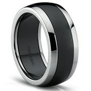 Titanium Black Ceramic Combo Men's Wedding Band, Engagement Ring, Dome Comfort Fit