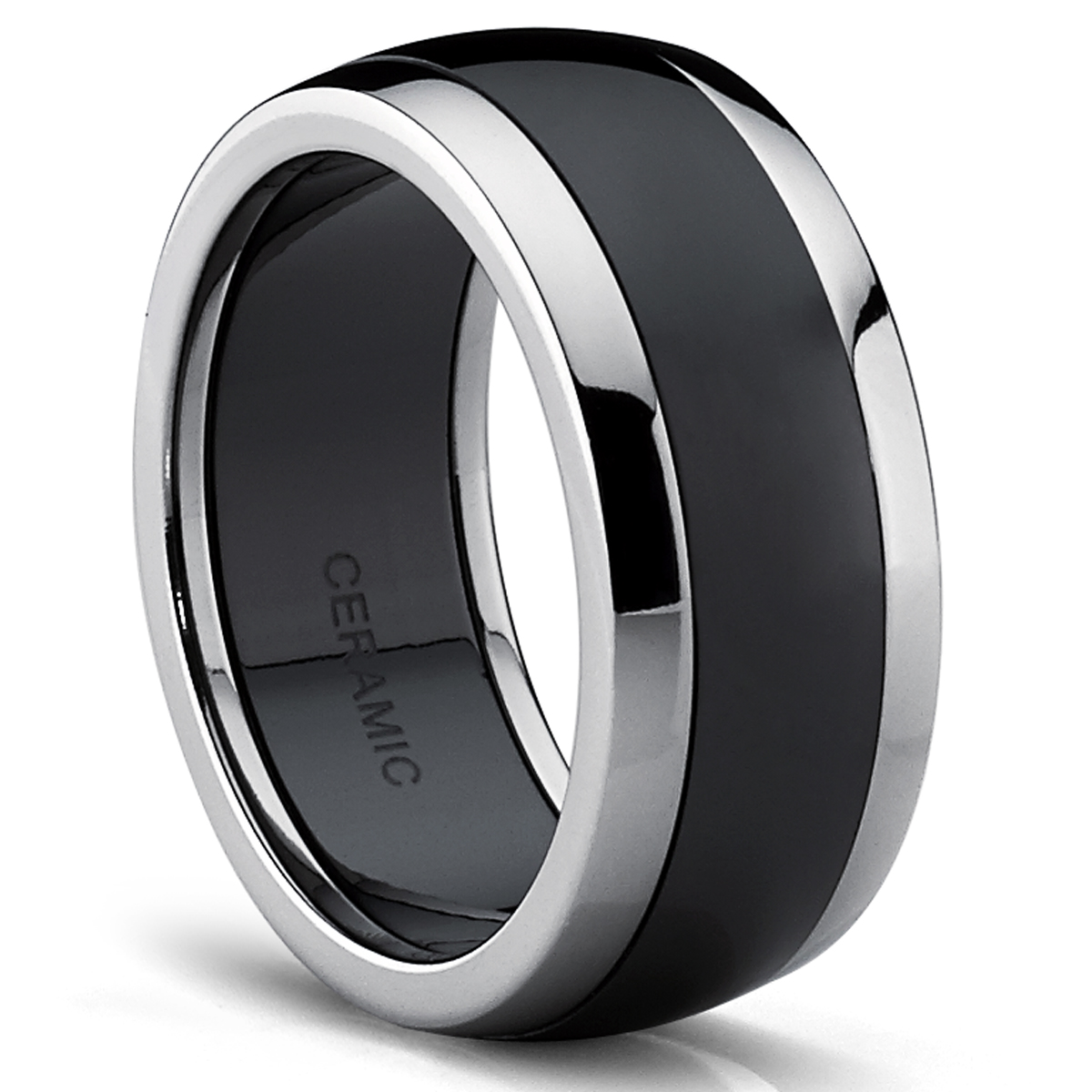 Titanium Black Ceramic Combo Men's Wedding Band, Engagement Ring, Dome Comfort Fit