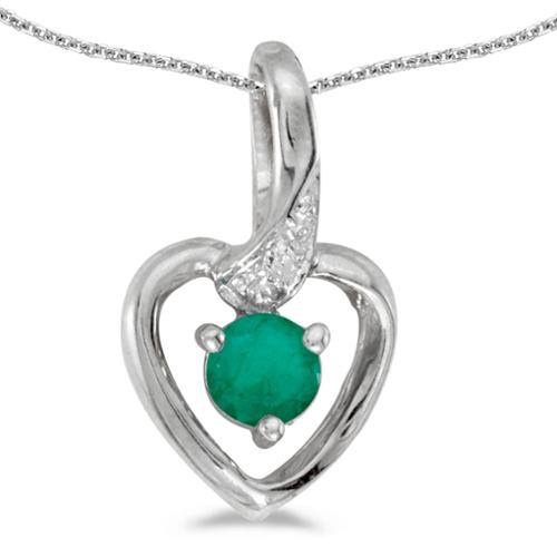 "14k White Gold Round Emerald And Diamond Heart Pendant with 18"" Chain"