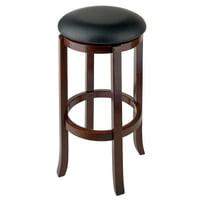 """Winsome Wood Walcott 30"""" Swivel Seat Stool, RTA, Black & Walnut"""