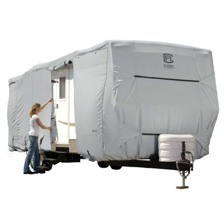 Classic Accessories OverDrive PermaPRO Deluxe Travel Trailer Cover, Fits 18' - 40' RVs - Lightweight Ripstop and Water Repellent RV