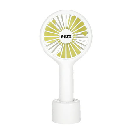 Portable Handheld Fan USB Charge 3 Wind Speeds Fan with Detachable Base for Outdoor Travel Home Office, Blue Pink White Optional - image 1 de 6