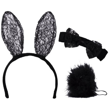 Bunny In A Hat Costume (3 Piece Lace Bunny Costume with Headband, Bowtie and)