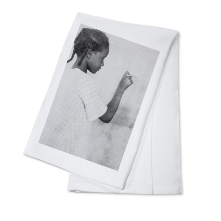 - Young African American Girl at Chalkboard - Vintage Photograph (100% Cotton Kitchen Towel)