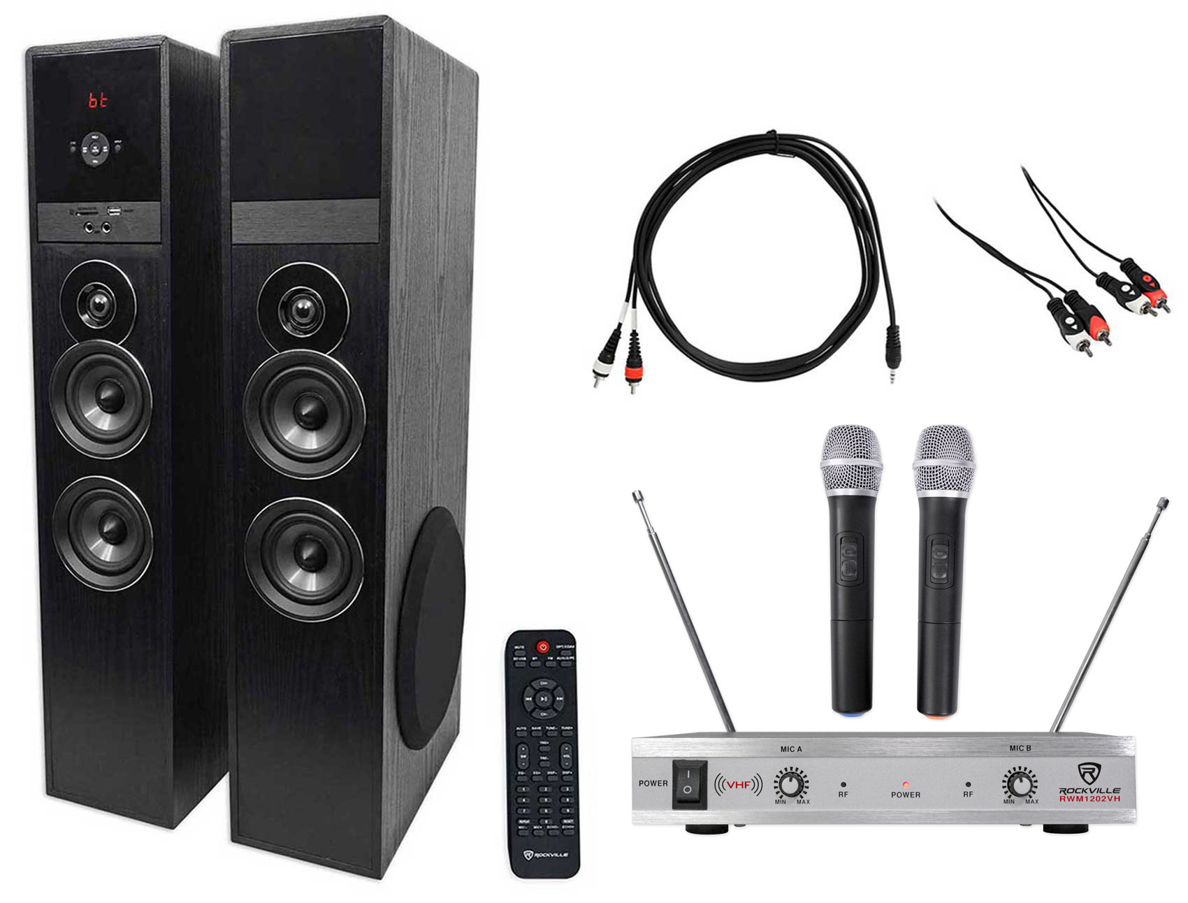 Rockville Bluetooth Home Theater Karaoke Machine System w (2) Wireless Mics+Subs by ROCKVILLE