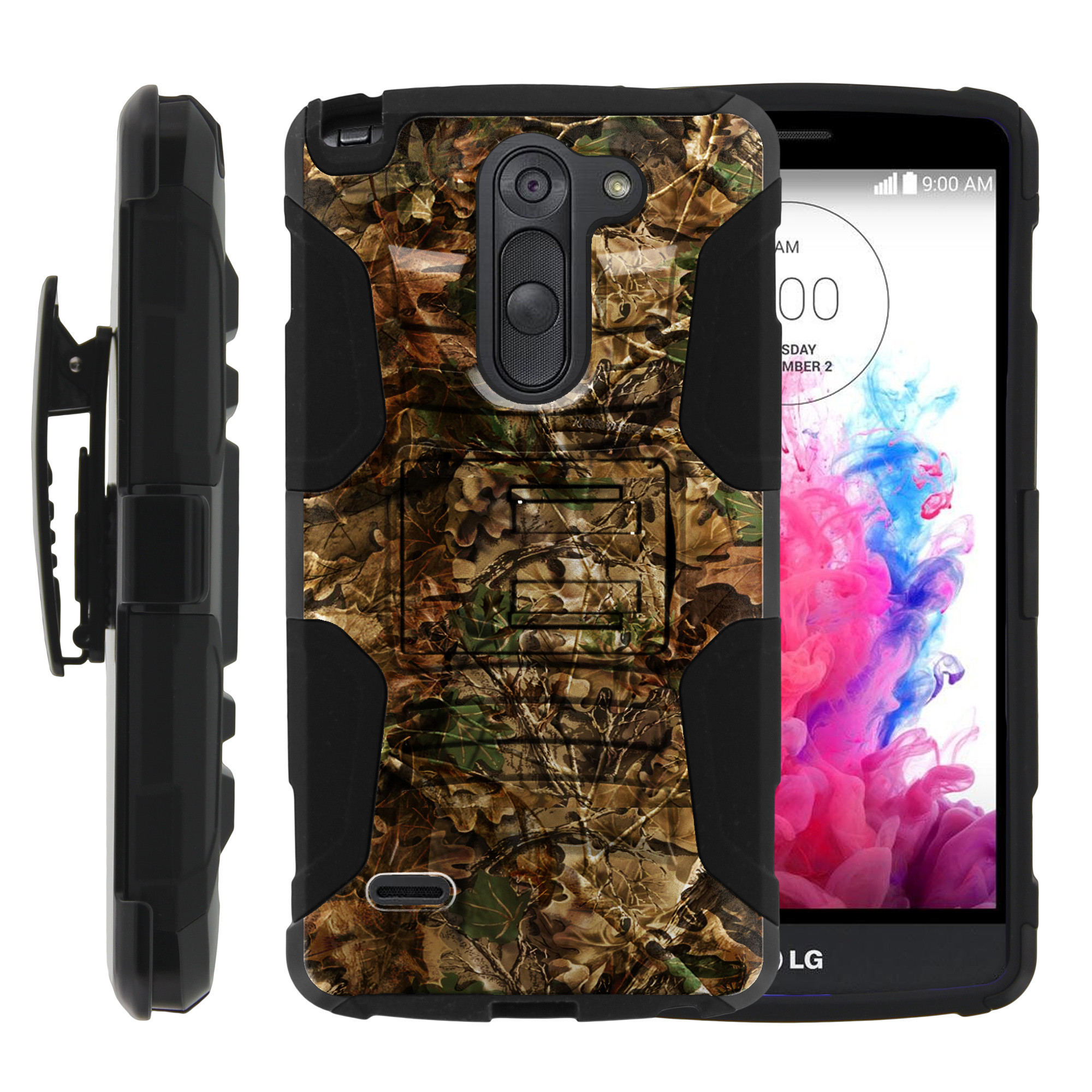 LG G3 Stylus Case | LG D690 Case | G3 Stylus Holster Case [ Clip Armor ] Rugged Case with Kickstand + Holster - Hunting Leaves Camo