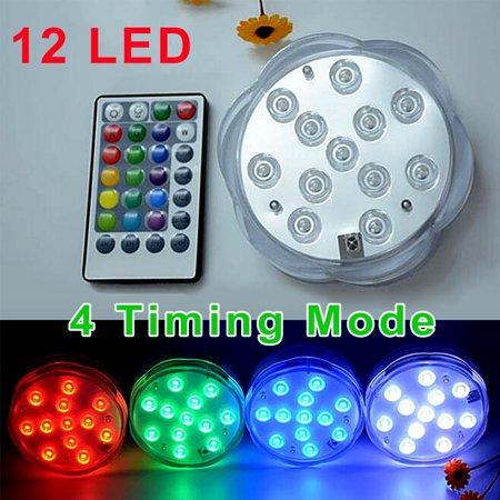 16 Colors 12 LEDs Large Plum Style Remote Control Timing Dive Light Aquarium Light