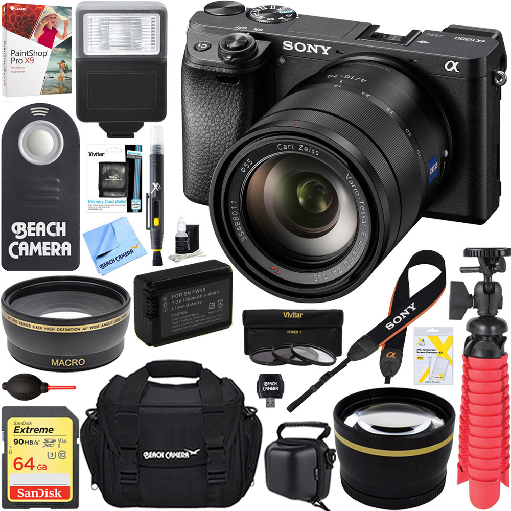 Sony ILCE-6300 a6300 4K Mirrorless Camera Body + 16-70mm Mid-Range Zoom Lens + Accessory Bundle