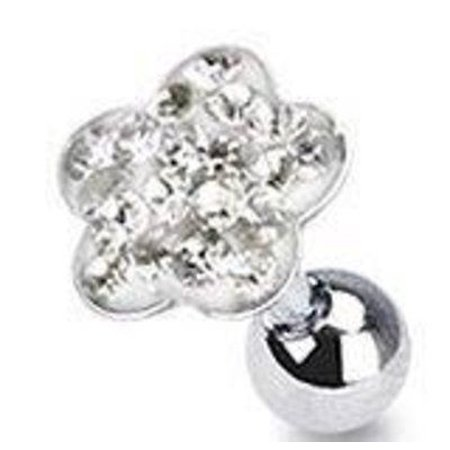316L Surgical Steel Multi Paved Flower Top Tragus/Cartilage Stud 16g 5mm (316l Surgical Steel Top)