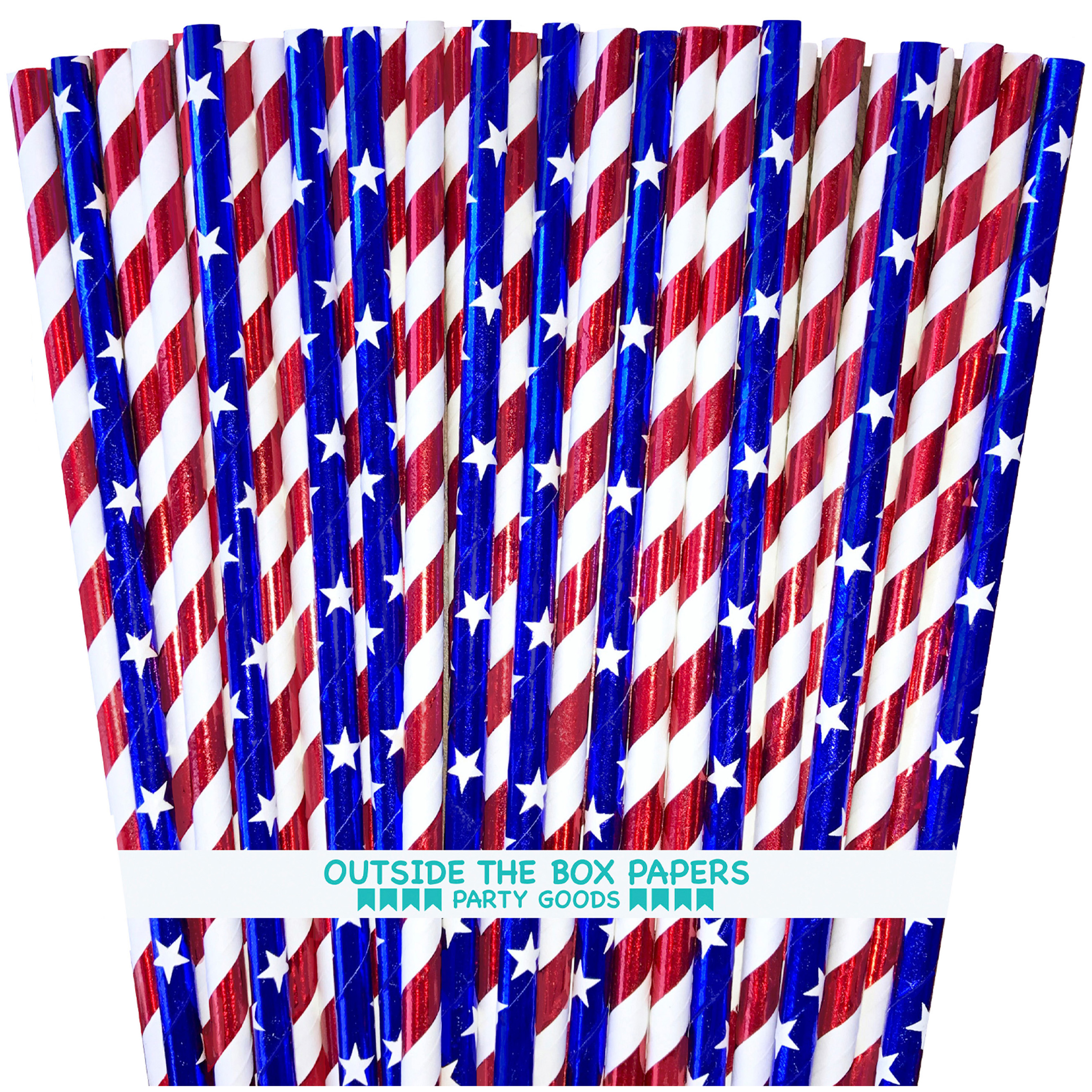 Red, white and blue Stars and Stripes Foil Paper Straws 100 Pack
