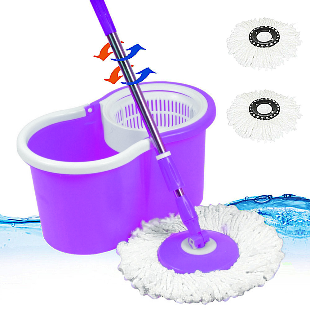 Easy Wring Spinning Mop Bucket + 2x Microfiber Spinning Heads