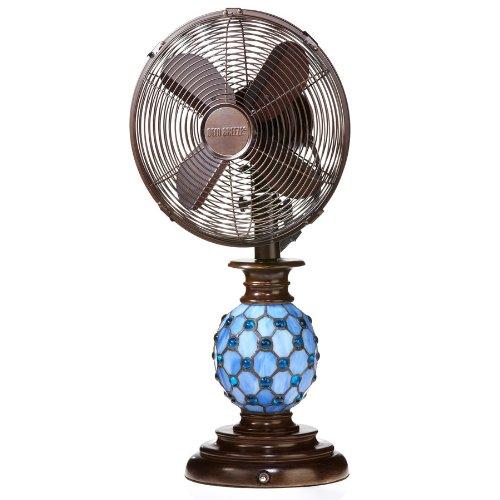 """Deco Breeze DBF1075 Mosaic Glass Azure 10"""" Table Fan"""