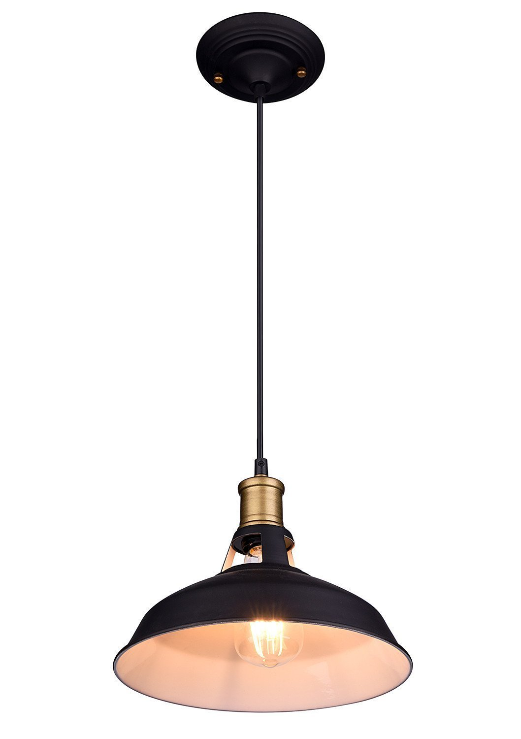 Oak Leaf Industrial Black Metal Barn Pendant Light Shade L& Sconce Pendant Lighting Fixture 1-Light for Dining RoomKitchen - Walmart.com  sc 1 st  Walmart & Oak Leaf Industrial Black Metal Barn Pendant Light Shade Lamp Sconce ...