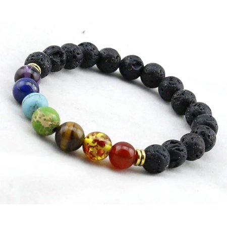 Baltic Essentials Chakra Lava Rock Balance Bracelet Yoga Teen Rainbow Natural Stone Wisdom Amethyst (Lapis Star Bracelet)
