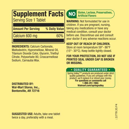 (2 Pack) Spring Valley Calcium Tablets, 600 mg, 100 Ct