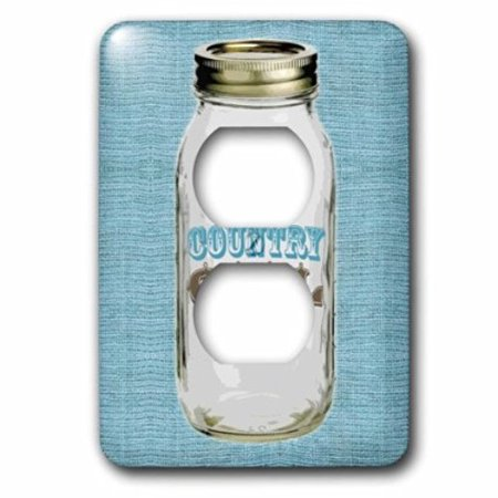 3dRose Mason Jar on Burlap Country Girl in Blue, 2 Plug Outlet (Mason Outlet Mall)