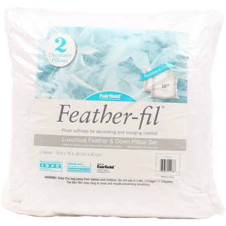 """Fairfield Feather-Fil Feather & Down Pillow Insert 18"""" x 18"""" 2 Pack"""