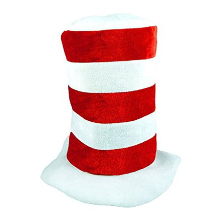 MA ONLINE Kids Red White Stripe Tall Cat Hat Adults Dr Seuss Fancy Dress Costume Accessory Kids