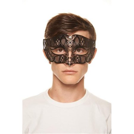 Black Luxury Roman Guard Filigree Laser Cut Metal Mask with Clear Rhinestones, 4 x 9.5 in. - One Size