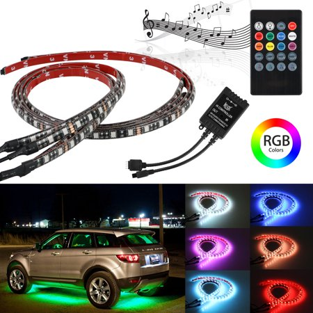 TSV RGB Car LED Strip, Waterproof Under Car Tube LED Strip Underbody Underglow Neon Light with IR Remote Control, 4-Pack, (2x36
