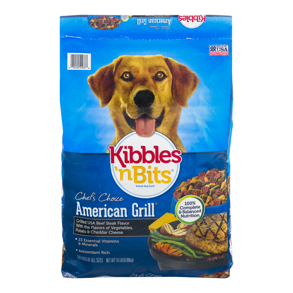 Kibbles 'n Bits American Grill Grilled USA Beef Steak Flavor Dry Dog Food, 15-Pound