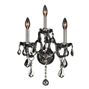 "Provence Collection 3 Light Chrome Finish and Smoke Crystal Candle Wall Sconce 13"" W x 18"" H Medium Two 2 Tier"