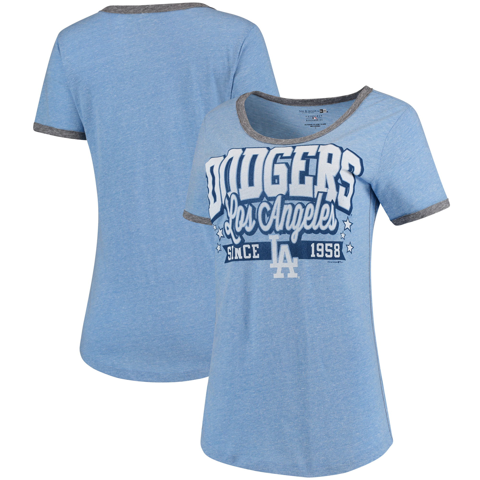 Los Angeles Dodgers 5th & Ocean by New Era Women's Jersey Ringer Tri-Blend T-Shirt - Royal/Charcoal