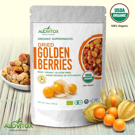 Golden Berries - All Natural Fresh Incan, Gooseberries Raw, Vegan, Gluten Free, Paleo Dried Super Fruit, Smart Protein Fiber Organic 16oz by - Organic Tropical Dried Fruit
