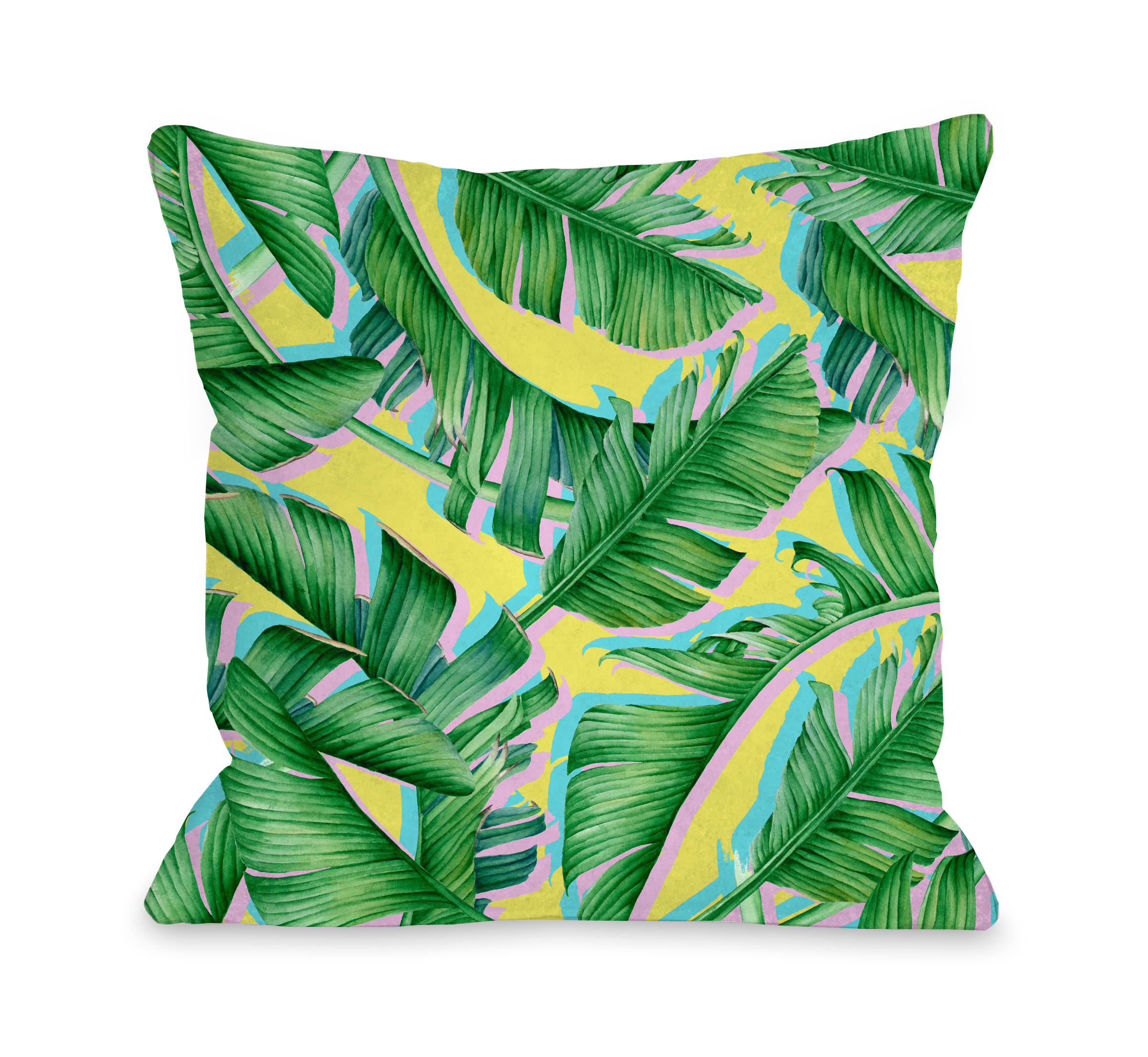 Palm Pops - Green 18x18 Pillow by OBC