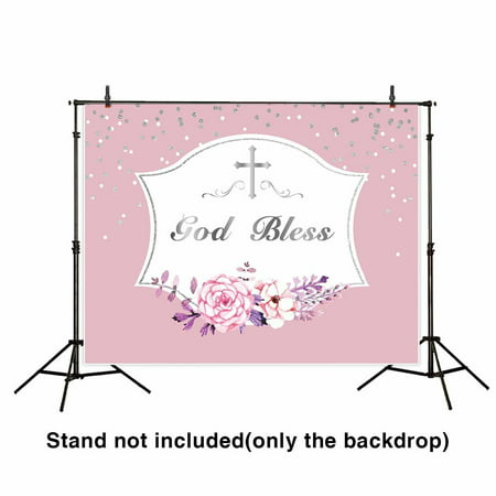 GreenDecor Polyster 7x5ft first communion backdrop pink for girl banner photography background profession