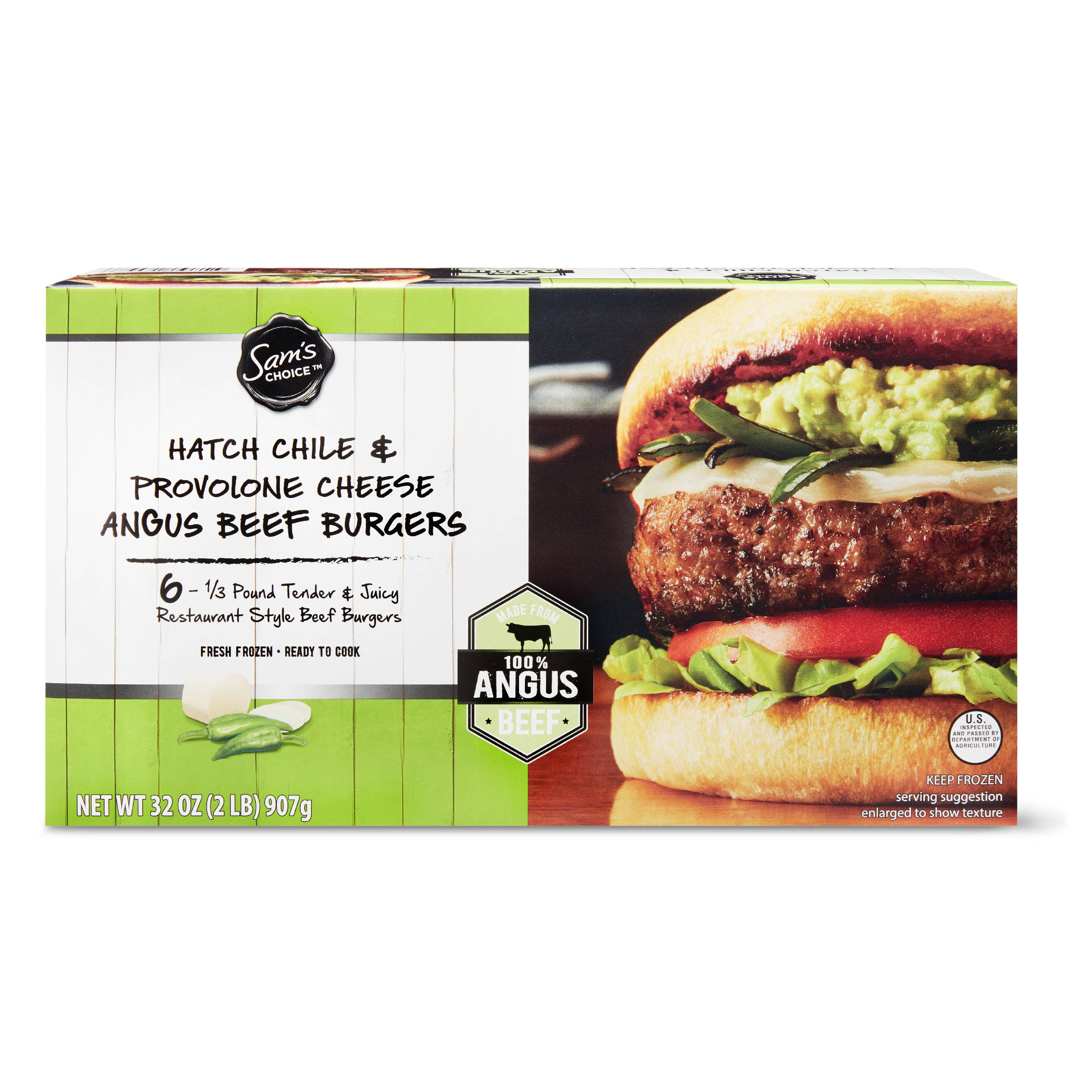 Sam's Choice Hatch Chile & Provolone Cheese Angus Beef Burgers, 32 oz, 6 Count