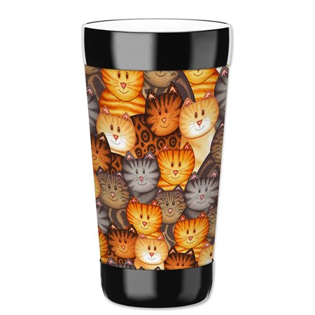 Mugzie 16-Ounce Tumbler Drink Cup with Removable Insulated Wetsuit Cover - Cat