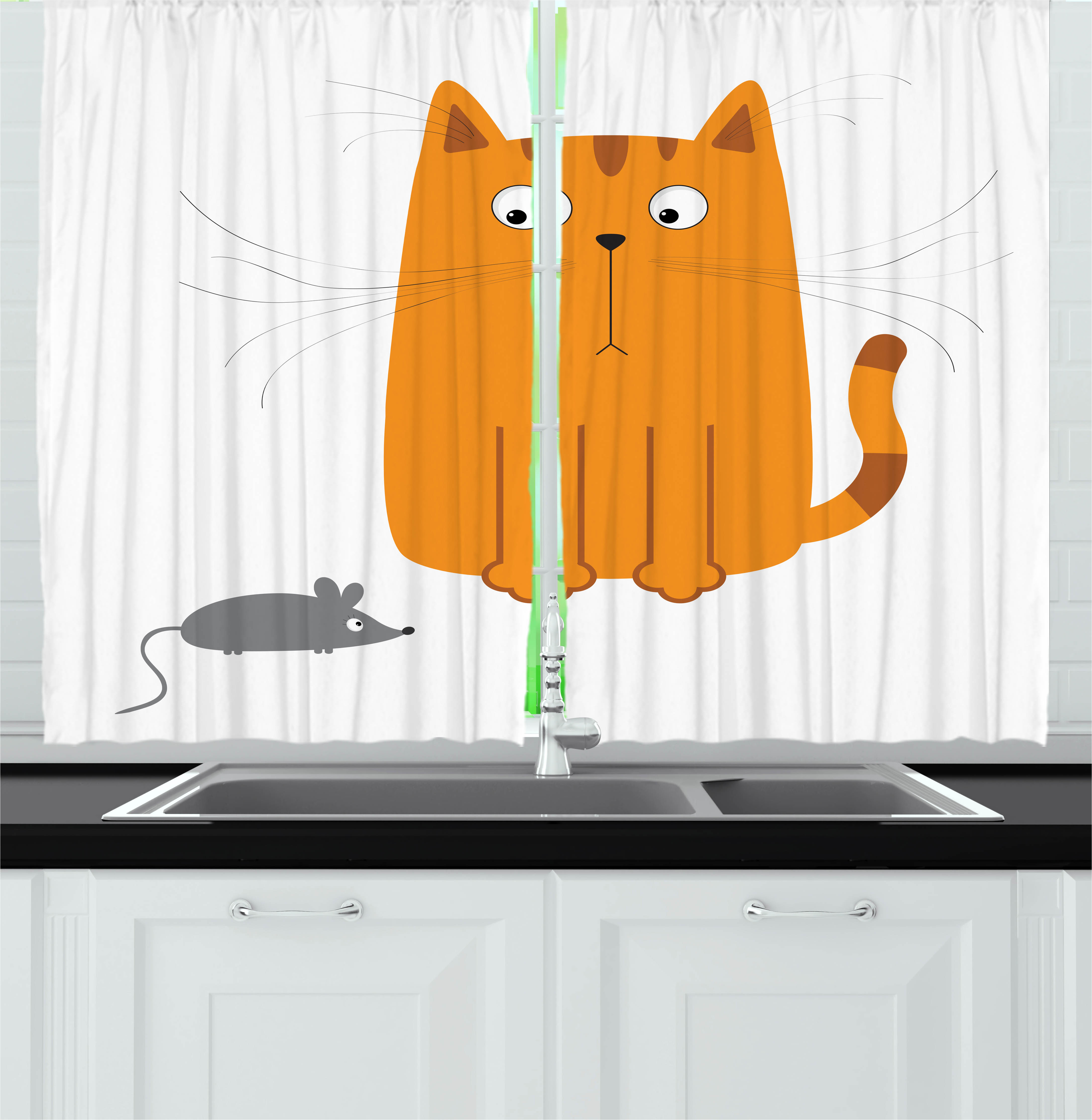 Cartoon Curtains 2 Panels Set, Cute Cat Looking at Mouse Hunter Kitty Fun Humor Kids Animal Graphic Art Print, Window Drapes for Living Room Bedroom, 55W X 39L Inches, Marigold Grey, by Ambesonne