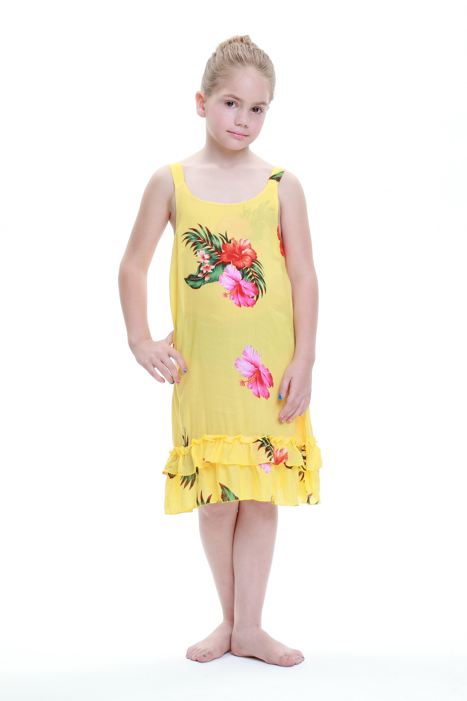 Girl Tank Ruffle Hawaiian Luau Dress in Yellow 1-2