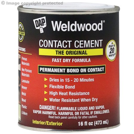 DAP Weldwood Contact Cement the Original Formula, Clear, 16 Fl. Oz. Tackle your next project by using the DAP Weldwood Contact Cement 16 Oz. This product can be used to make home additions and repairs easier than ever before. DAP contact cement features a formula that is used for applying laminates and veneers as well as wood and particle board to home surfaces. It's simple to spread and specially designed to dry smoothly and evenly. The weldwood cement creates a tenacious hold that lasts through heavy daily use. It will bind reliably to many different surfaces and comes in a resealable metal can for safe storage and transport. This product can be used to achieve professional grade results without spending money on professional workers. It will make a useful addition to the rest of your building and repair tools and supplies. The versatile design of the formula makes it capable of helping for many different types of jobs, creating the strong adhesive bond needed to apply special additions to certain areas.