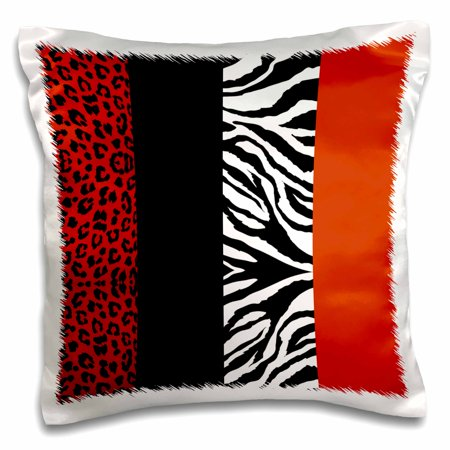3dRose Red, Black, Orange and White Animal Print - Leopard and Zebra - Pillow Case, 16 by 16-inch - Black And Orange