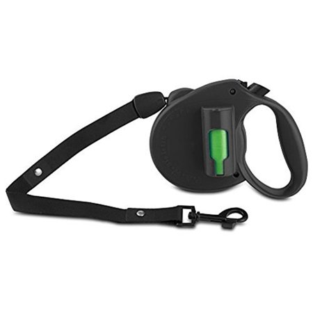 PAW Bio Retractable Leash with Green Pick-up Bags, Black Bags On Board Plastic Leash