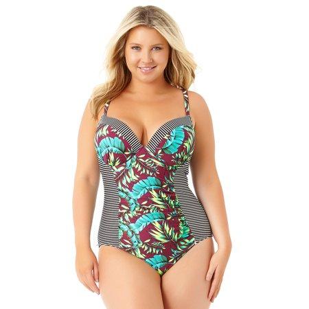 c60b12d671d40 Allure Plus - Allure Juniors Plus Size Strappy One Piece Swimsuit -  Walmart.com